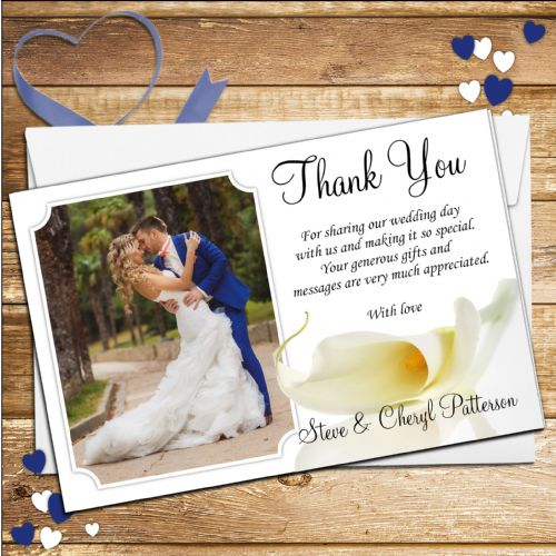 10 Personalised Wedding Day Thank you Photo cards N77